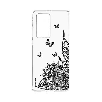 Hull For Huawei P40 Pro Soft Mandala Flower And Black Butterfly