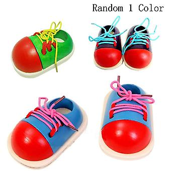 1 Pcs Random Kids Montessori Educational Children Wooden Toys- Toddler Lacing Shoes Early Education Montessori Teaching Aids