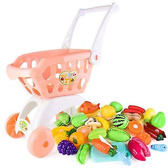 Large Supermarket Shopping Cart Trolley - Basket For Fruits Toy