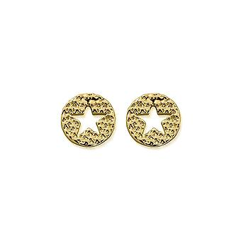 ChloBo Gold Sparkle Star In Circle Boucles d'oreilles GEST3098