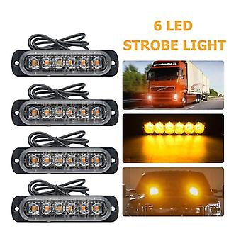 Emergency Grille Police Light Car-styling Bright White Yellow Red Blue Amber 6 Led Truck Van Beacon Strobe Warning Flashing
