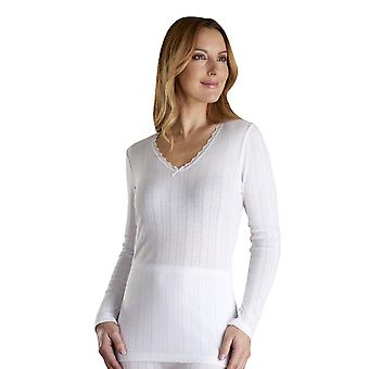 Slenderella VUW803 Women's Vedonis White Cotton Thermal Knit Long Sleeve Top