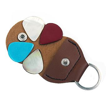 4PCS  Multicolor Guitar Bass Picks with Brown Pick Clasp
