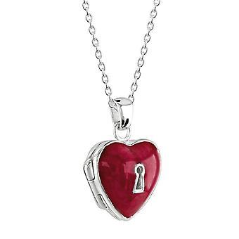 Dew sterling zilver rood glazuur hangslot hart medaillon hanger 98989RE028