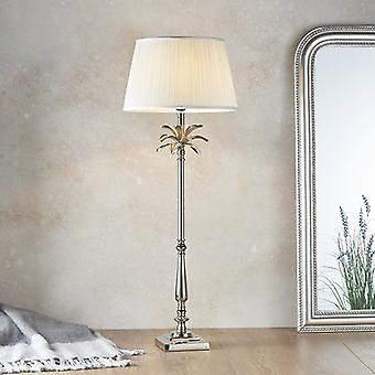 Pöytävalaisin kiillotettu nikkelilevy & vintage valkoinen silkki 1 kevyt IP20 - E27