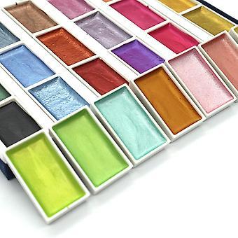 Color Semi-dry Glitter Metallic Watercolor Paint Box Set Artist Pearl Pigment