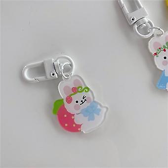 Rabbit Love Bear Keychains, Metal Earphone Case, Pendentif Filles Student Backpack