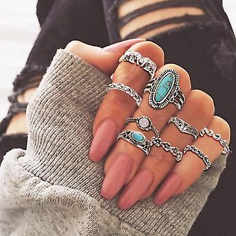 Vintage Women Crystal Finger Knuckle Rings Set For Jewelry