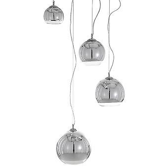 Moderne hangende hanghanger Chroom 4 Licht met Glazen Schaduw, E27