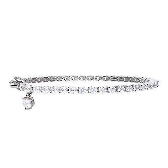 Diamonfire 925 plata esterlina garra conjunto cúbico Zirconia pulsera de tenis con CZ longitud de encanto 17-19cm