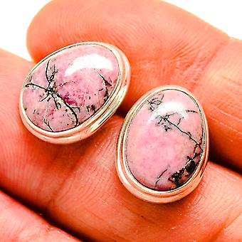 "Rhodonite Earrings 3/4"" (925 Sterling Silver)  - Handmade Boho Vintage Jewelry EARR408948"