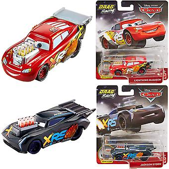 2-Pack Cars XRS Drag Racing Cars Lightning McQueen & Jackson Storm Diecast
