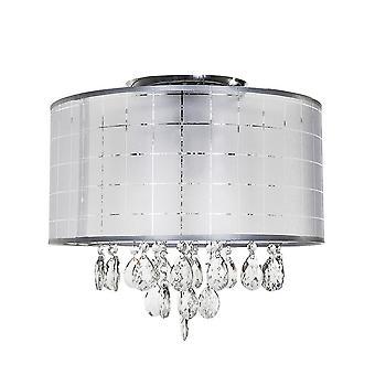 Modern Flush Ceiling Light Chrome, Wit 3 Licht met wit, kristallen schaduw, E14