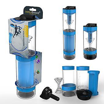 Intelishake Cyclone Blue - Shaker Bottle Monilokeroinen proteiini/treeni/mehu Vesihiilisuodattimella Urheiluliikuntaan ja kuntosalille