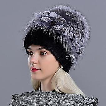 الطبيعية المنك الفراء هات فوكس بومبوم أرنب الزهور أنيقة قبعة الشتاء الدافئة (أسود)
