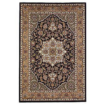 2'x3' Black Beige Machine Woven Floral Medallion Indoor Accent Rug