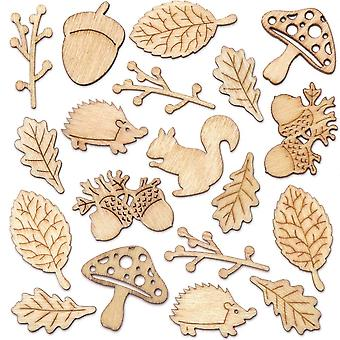 Baker ross ar938 autumn themed mini wooden shapes (pack of 45) for kids to make and decorate, brown
