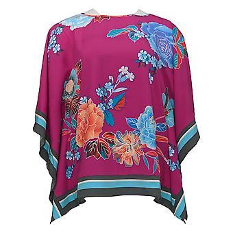 Bob Mackie Women's Top Romantic Floral Border Print Caftan Pink A352512