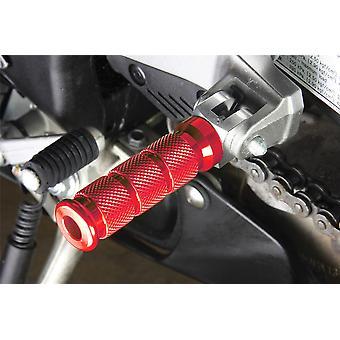 BikeTek Alloy Round Sports Footpegs Suzuki Rider/Pillion Red Type 2