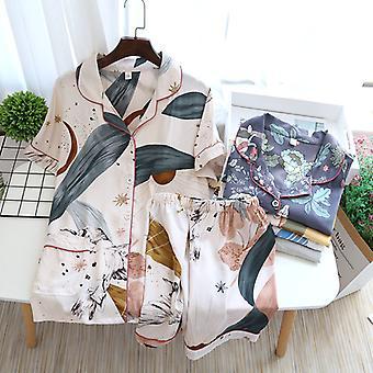 Letní kalhoty s krátkým rukávem Dámské pyžamo Oblek Jednoduchý styl Dlouhé pyžamo Dámské apos;s Domácí služby