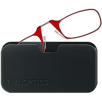 ThinOptics Armless Glasses with Universal Case - Red Frame, Black Pod