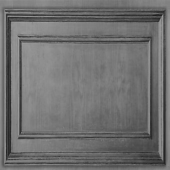 Wood Panelling Grey Wallpaper