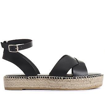 Jones Bootmaker Womens Agnes Leather Flatform Sandálias