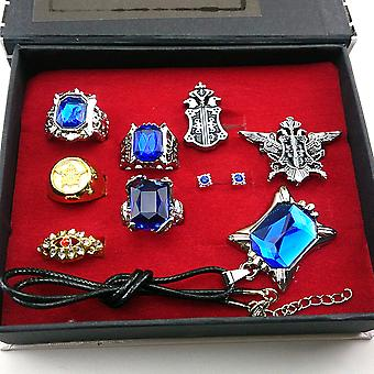 8pcs/lot Kuroshitsuji Black Bulter Sebastian Ring, Earring, Necklace & Brooch Set