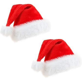 2Packs santa hat, Soft Plush Christmas Hat, Xmas Holiday Hat for kids, Unisex Velvet Comfort