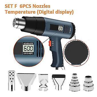 220V 2000w advanced hot air gun temperatures adjustable digtal display with 6pc nozzles electric heat gun