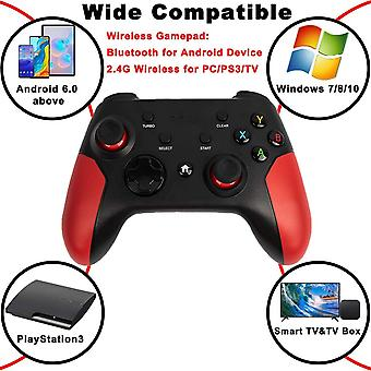 Controller for Android / PC / PS3, Android Mobile Wireless Bluetooth Controller with Retractable Stand, 2.4G Wireless Controller PC / PS3 / TV Gamepad Joystick with Double Vibration(black)