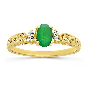 LXR 10k الذهب الأصفر الزمرد البيضاوي وخاتم الماس 0.31 CT