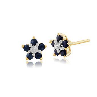 9ct geel gouden 0,54 ct Sapphire & Diamond Floral Cluster Stud Earrings Stud Earrings