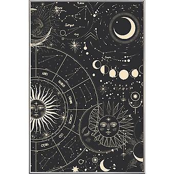 JUNIQE Print - Koło astrologii - Astronomia i plakat kosmiczny w czerni