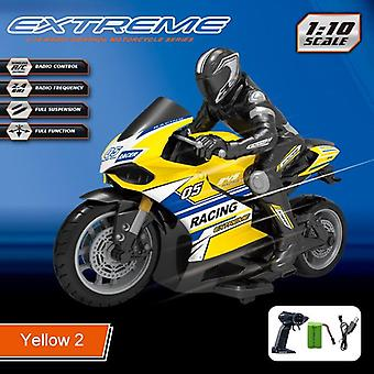 Carreras y drift moto Omidirection Control infantil simulación eléctrica RC Juguetes (Amarillo)