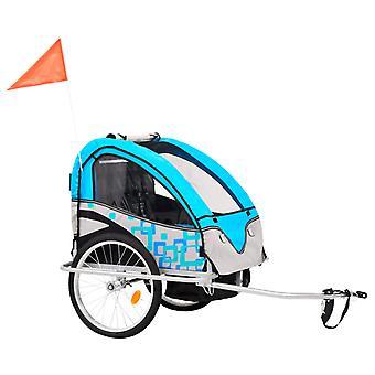 vidaXL 2-in-1 Lasten polkupyörän perävaunut & rattaat sininen ja harmaa