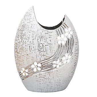 Hestia Metallic Oval Vase With White Flowers 21.3cm