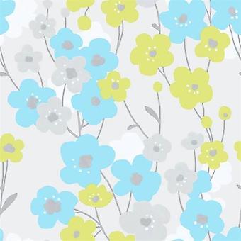 Tempo Poppy Blue Green Wallpaper