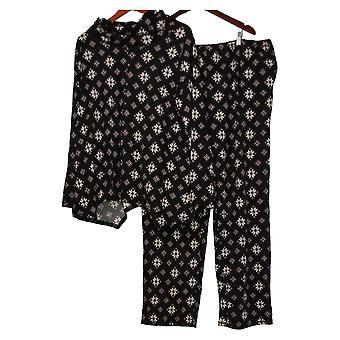 Carole Hochman Women's Tall Waffle Fleece Pajama Set Black A311261