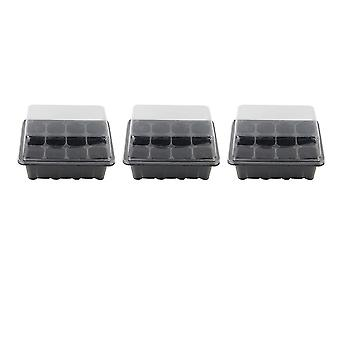 3 Pcs 18x14x6cm Seedling Tray Sprout Plate 12-cells Nursery Pots Tray With Transparent Lids Box For Gardening Bonsai (black)