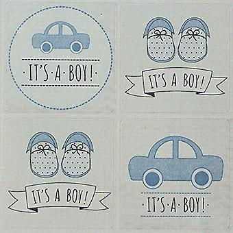 Its A Boy Sticker Sheet   New Baby Shower Announcement Crafts Scrapbook x40