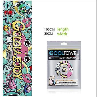 Asciugamano fresco Fitness Stampa ad asciugatura rapida Breathable Microfiber Ice Sports Asciugamano (Golou Ejoy)