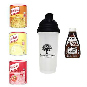 Seven Trees Farm Kit with 5 products | 1 x Caramel, 1 x Banana, 1 x Strawberry Shakes, 1 x Shaker and 1 x Chocolate Flavour Syrup