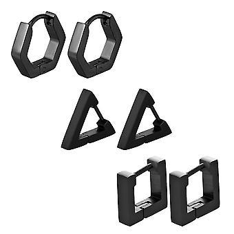 (black)  3 pairs Women Stainless Steel Triangle/Square/Hexagon Geometric Piercing Stud Earring Set