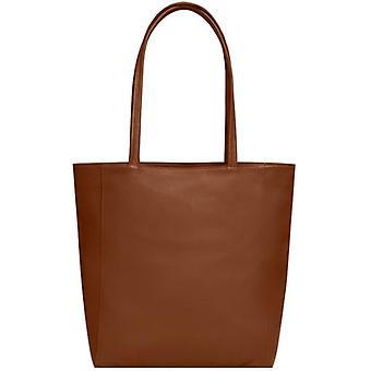 Kamel zip top läder tote shopper väska