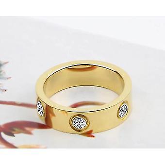 Stainless Steel Women Men Couple Crystal Luxury Ring