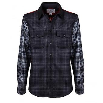 Woolrich Alaskan Melton Wool Black Grey Red Overshirt