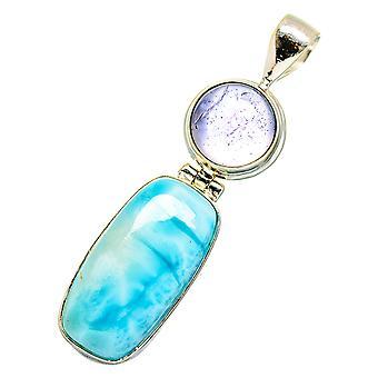 "Larimar, Tanzanite Pendant 2"" (925 Sterling Silver)  - Handmade Boho Vintage Jewelry PD10770"