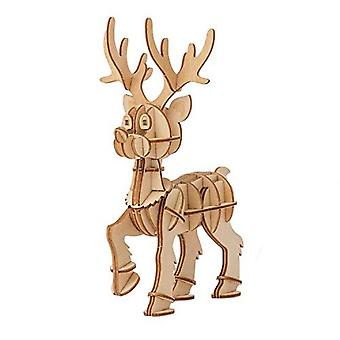 IncrediBuilds 3D Wood Reindeer Model Kit - Holiday Building Craft Project