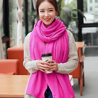 Xale quente feminino Inverno Quente Grande Cachecol Cor Pura Cor Cachecol Rosa Vermelho